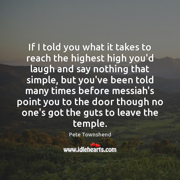 If I told you what it takes to reach the highest high Pete Townshend Picture Quote