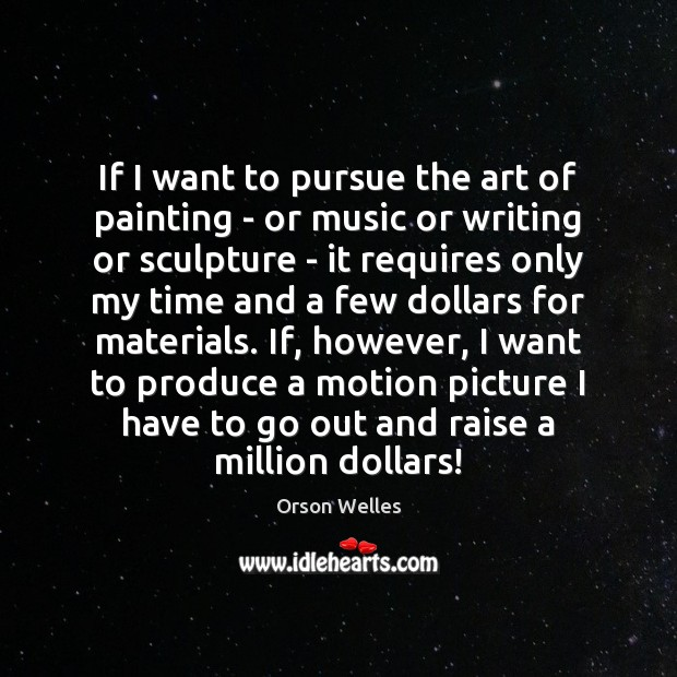 If I want to pursue the art of painting – or music Orson Welles Picture Quote