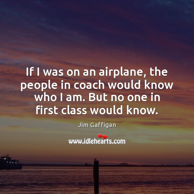 Jim Gaffigan Picture Quote image saying: If I was on an airplane, the people in coach would know
