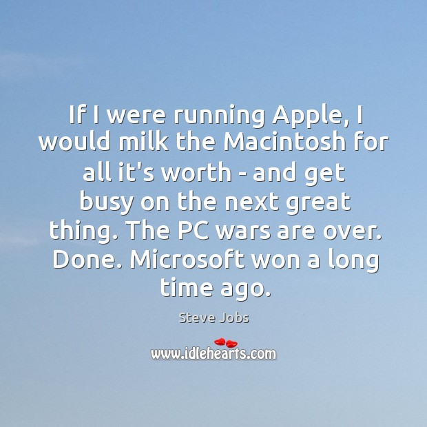 If I were running Apple, I would milk the Macintosh for all Image