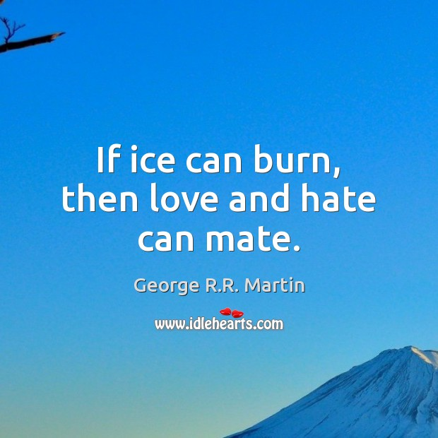 If ice can burn, then love and hate can mate. Love and Hate Quotes Image