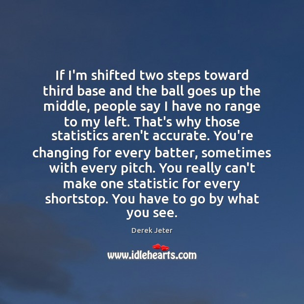 If I'm shifted two steps toward third base and the ball goes Derek Jeter Picture Quote