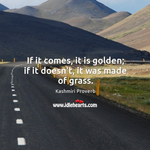 If it comes, it is golden; if it doesn't, it was made of grass. Kashmiri Proverbs Image