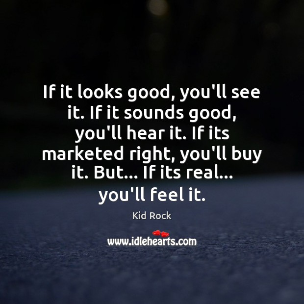 If it looks good, you'll see it. If it sounds good, you'll Kid Rock Picture Quote