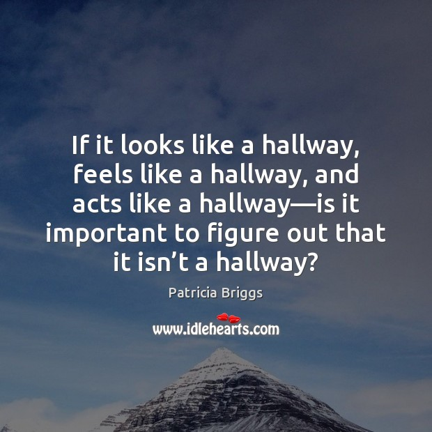 If it looks like a hallway, feels like a hallway, and acts Patricia Briggs Picture Quote