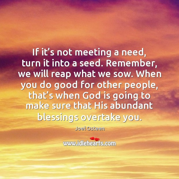 If it's not meeting a need, turn it into a seed. Joel Osteen Picture Quote