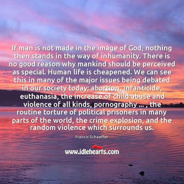 Image, If man is not made in the image of God, nothing then