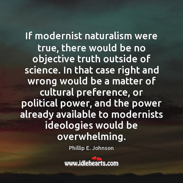 If modernist naturalism were true, there would be no objective truth outside Image
