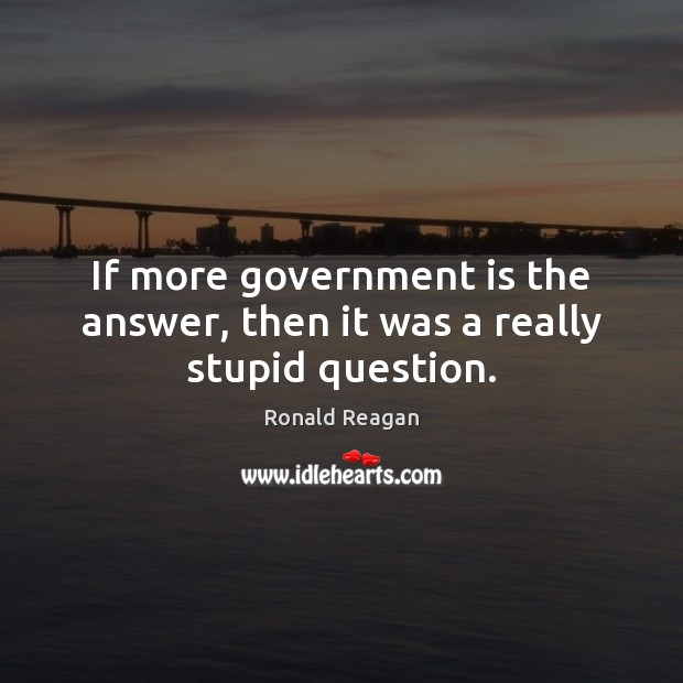 If more government is the answer, then it was a really stupid question. Ronald Reagan Picture Quote