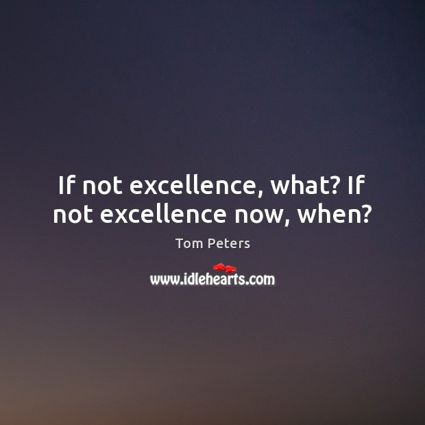 If not excellence, what? If not excellence now, when? Image