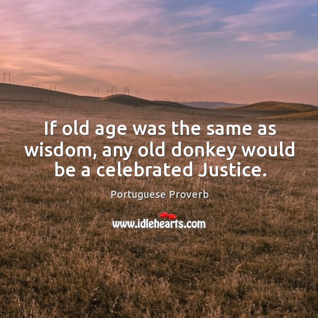 Image, If old age was the same as wisdom, any old donkey would be a celebrated justice.