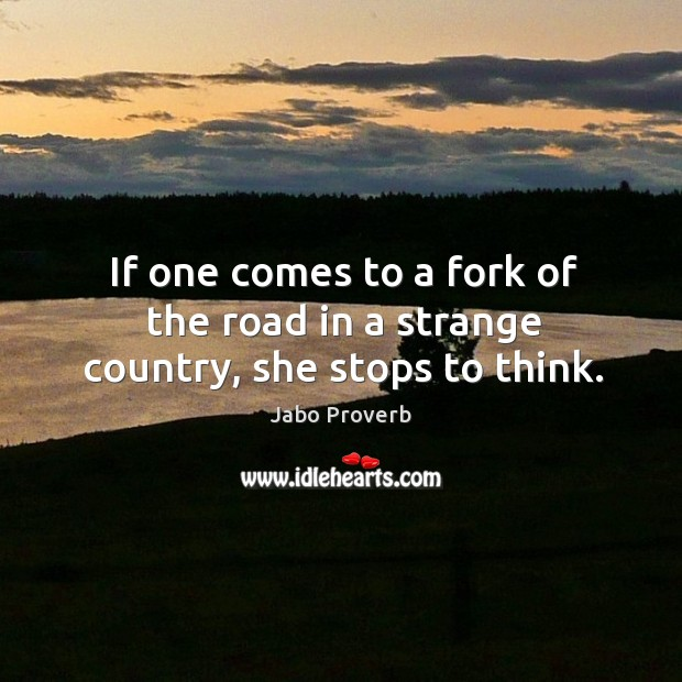 If one comes to a fork of the road in a strange country, she stops to think. Jabo Proverbs Image