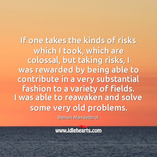 If one takes the kinds of risks which I took, which are Benoit Mandelbrot Picture Quote