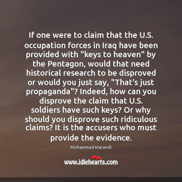 Image, If one were to claim that the U.S. occupation forces in