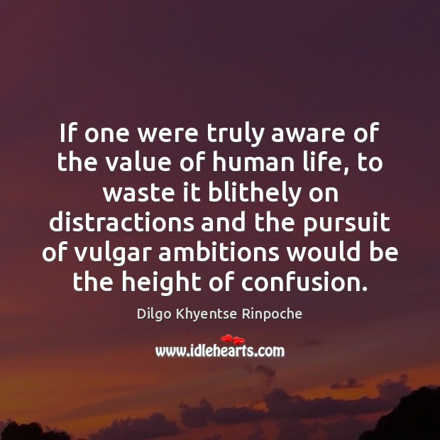 If one were truly aware of the value of human life, to Dilgo Khyentse Rinpoche Picture Quote