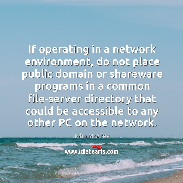 If operating in a network environment, do not place public domain or shareware programs in a common John McAfee Picture Quote