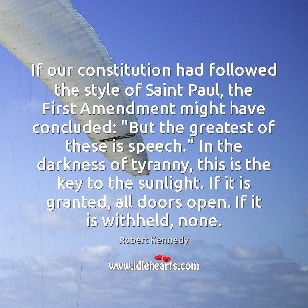If our constitution had followed the style of Saint Paul, the First Image