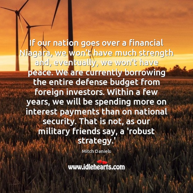 If our nation goes over a financial Niagara, we won't have much Image