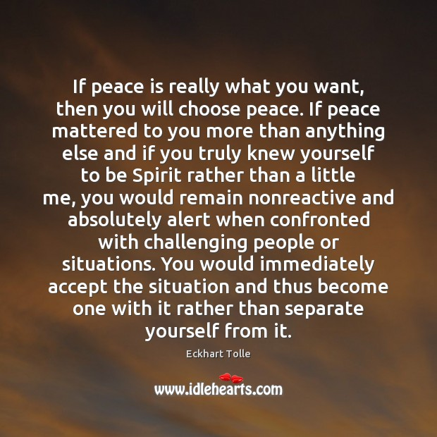 If peace is really what you want, then you will choose peace. Peace Quotes Image