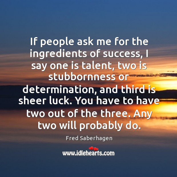 If people ask me for the ingredients of success, I say one is talent, two is Image