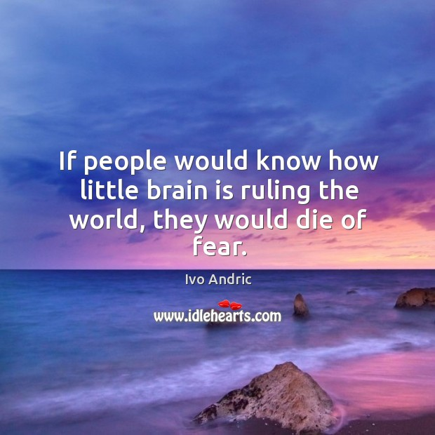 If people would know how little brain is ruling the world, they would die of fear. Image