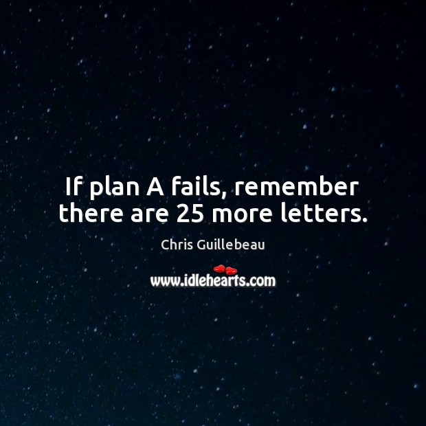 If plan A fails, remember there are 25 more letters. Image