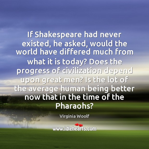 Image, If Shakespeare had never existed, he asked, would the world have differed