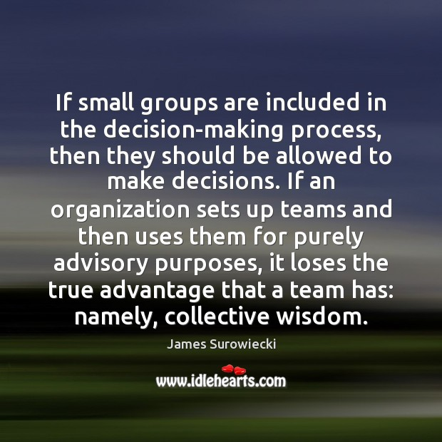 If small groups are included in the decision-making process, then they should James Surowiecki Picture Quote