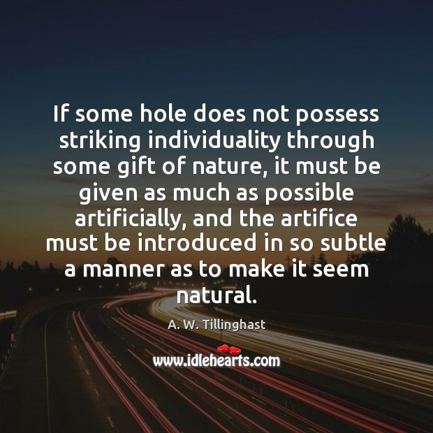 If some hole does not possess striking individuality through some gift of Image
