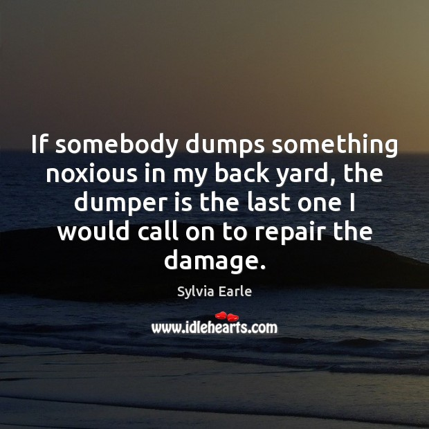 If somebody dumps something noxious in my back yard, the dumper is Image