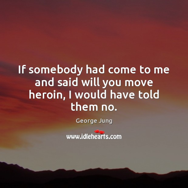 If somebody had come to me and said will you move heroin, I would have told them no. Image