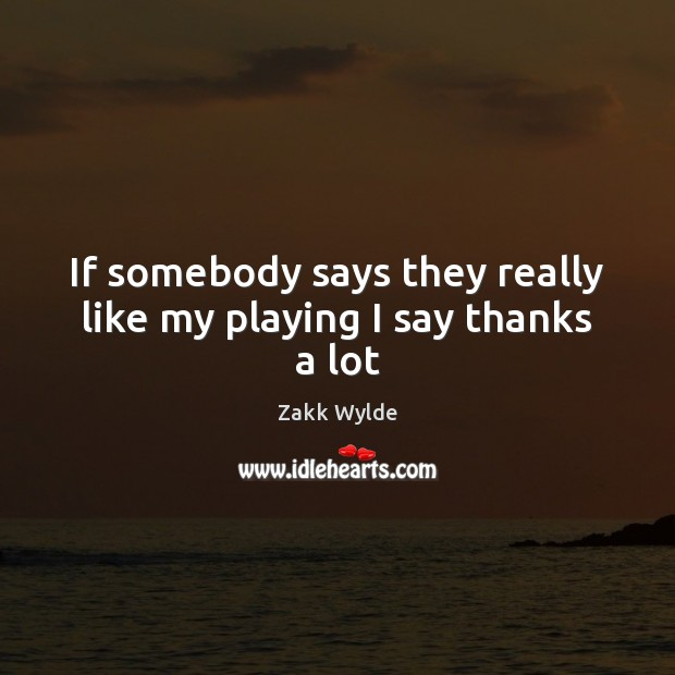 Zakk Wylde Picture Quote image saying: If somebody says they really like my playing I say thanks a lot