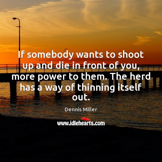 If somebody wants to shoot up and die in front of you, Dennis Miller Picture Quote
