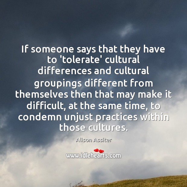 Image, If someone says that they have to 'tolerate' cultural differences and cultural