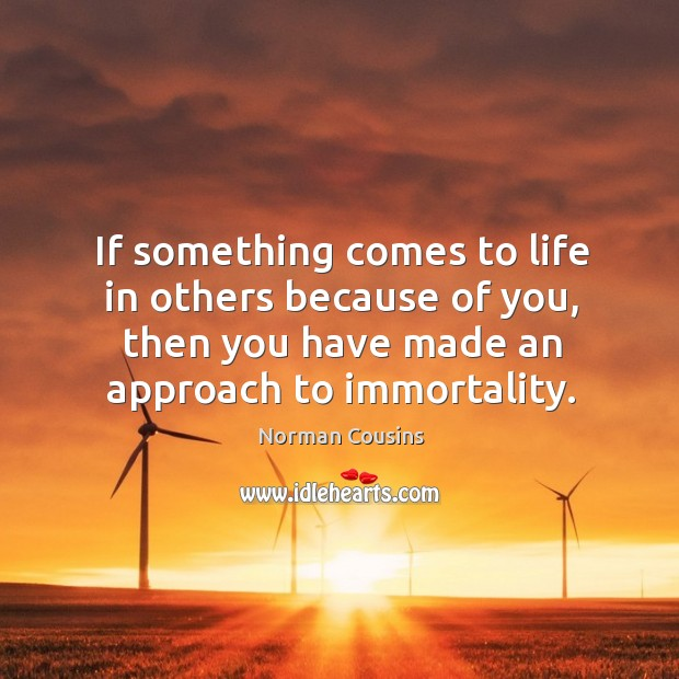 If something comes to life in others because of you, then you have made an approach to immortality. Image