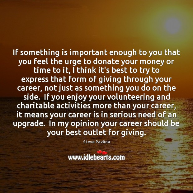 If something is important enough to you that you feel the urge Donate Quotes Image