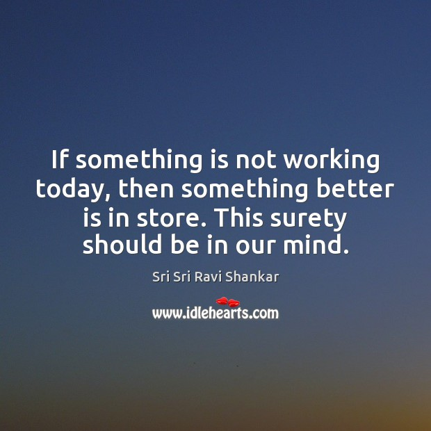 If something is not working today, then something better is in store. Image