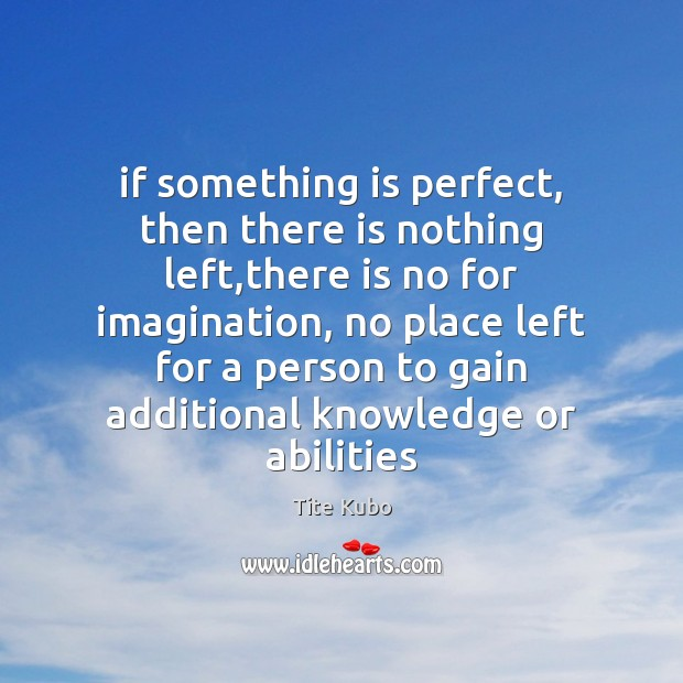 If something is perfect, then there is nothing left,there is no Image