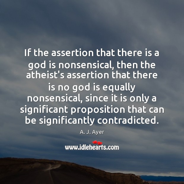 If the assertion that there is a God is nonsensical, then the Image