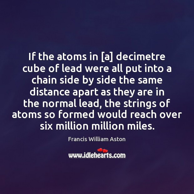If the atoms in [a] decimetre cube of lead were all put Image