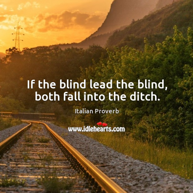 Image, If the blind lead the blind, both fall into the ditch.
