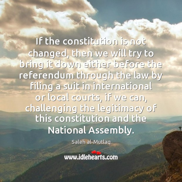 If the constitution is not changed, then we will try to bring Image