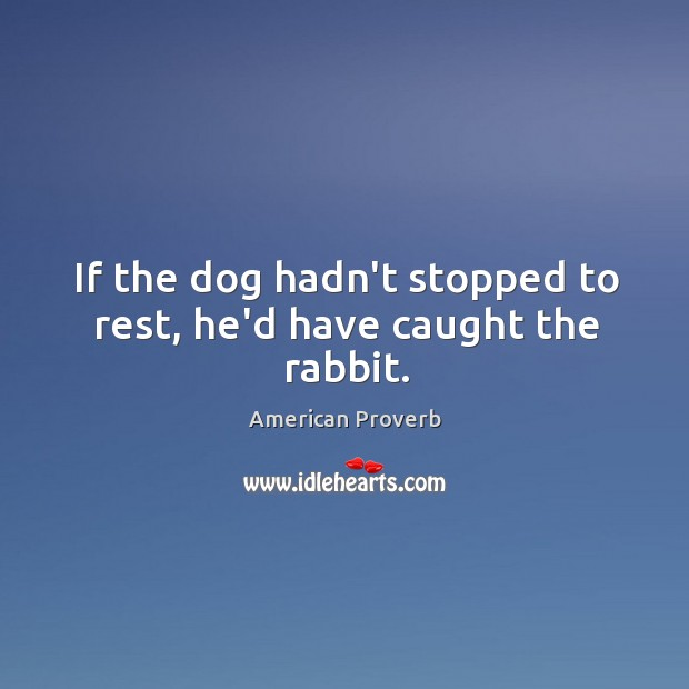 If the dog hadn't stopped to rest, he'd have caught the rabbit. American Proverbs Image