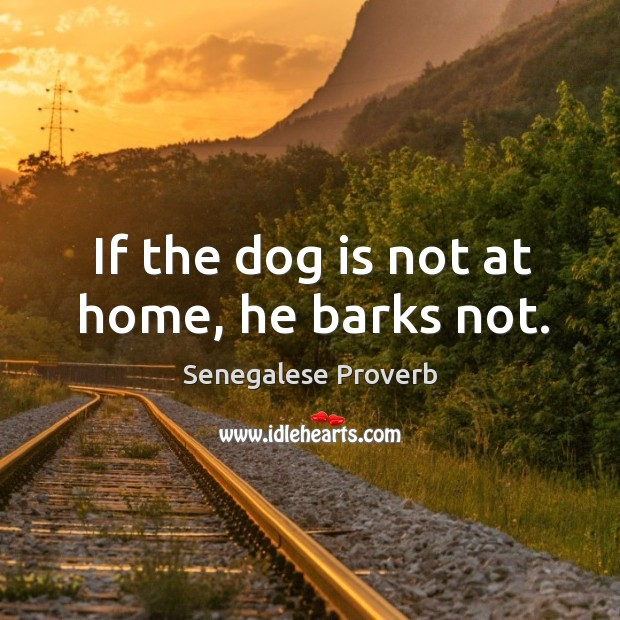 If the dog is not at home, he barks not. Senegalese Proverbs Image