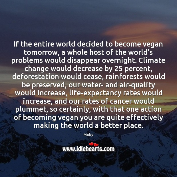 If the entire world decided to become vegan tomorrow, a whole host Image