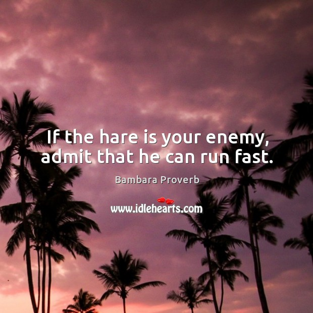 If the hare is your enemy, admit that he can run fast. Bambara Proverbs Image