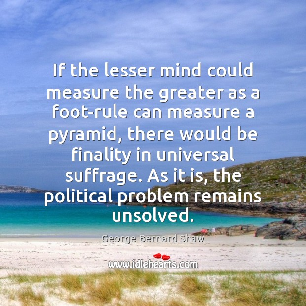 If the lesser mind could measure the greater as a foot-rule can Image