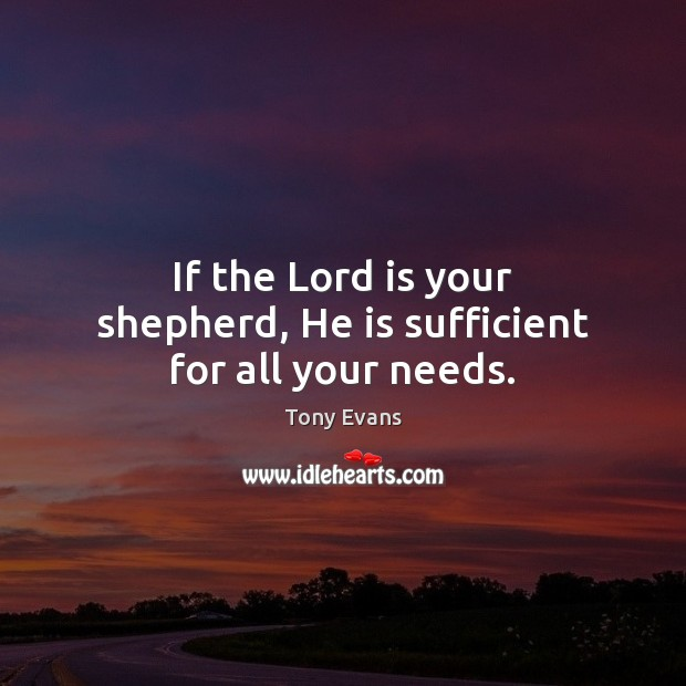 If the Lord is your shepherd, He is sufficient for all your needs. Tony Evans Picture Quote