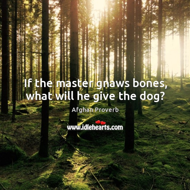 If the master gnaws bones, what will he give the dog? Afghan Proverbs Image