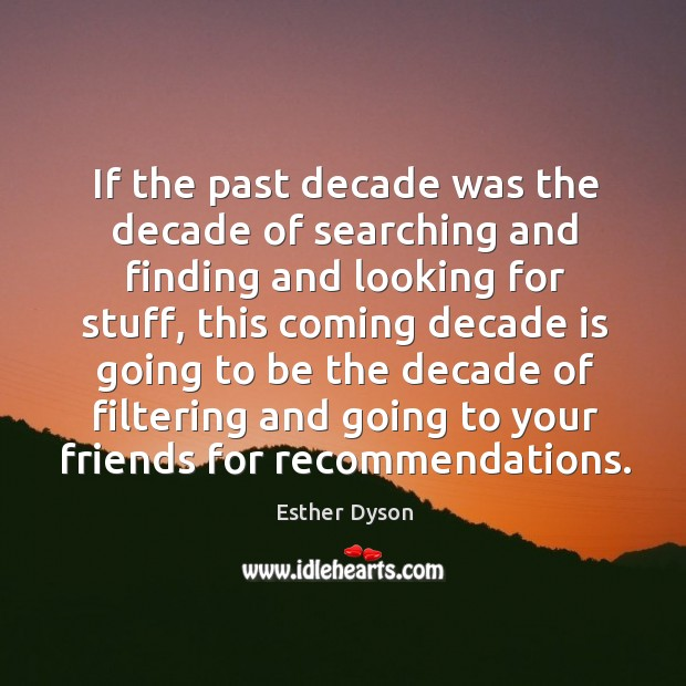 If the past decade was the decade of searching and finding and Esther Dyson Picture Quote